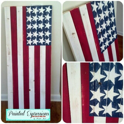 Painted Expressions: American Flag Pallet Sign