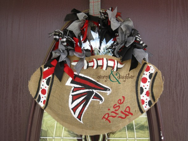 georgia & daughter: Atlanta Falcons Burlap Football