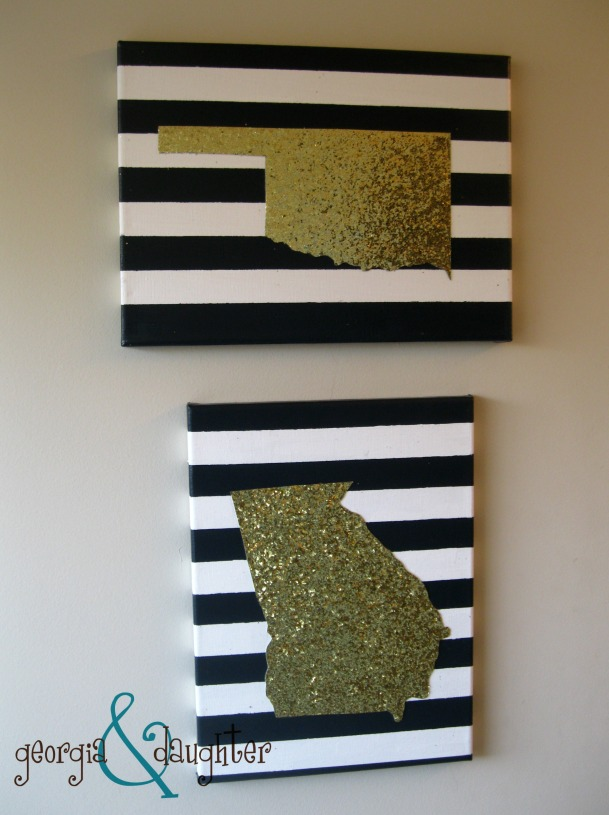georgia & daughter: DIY Gold Glitter State Canvas