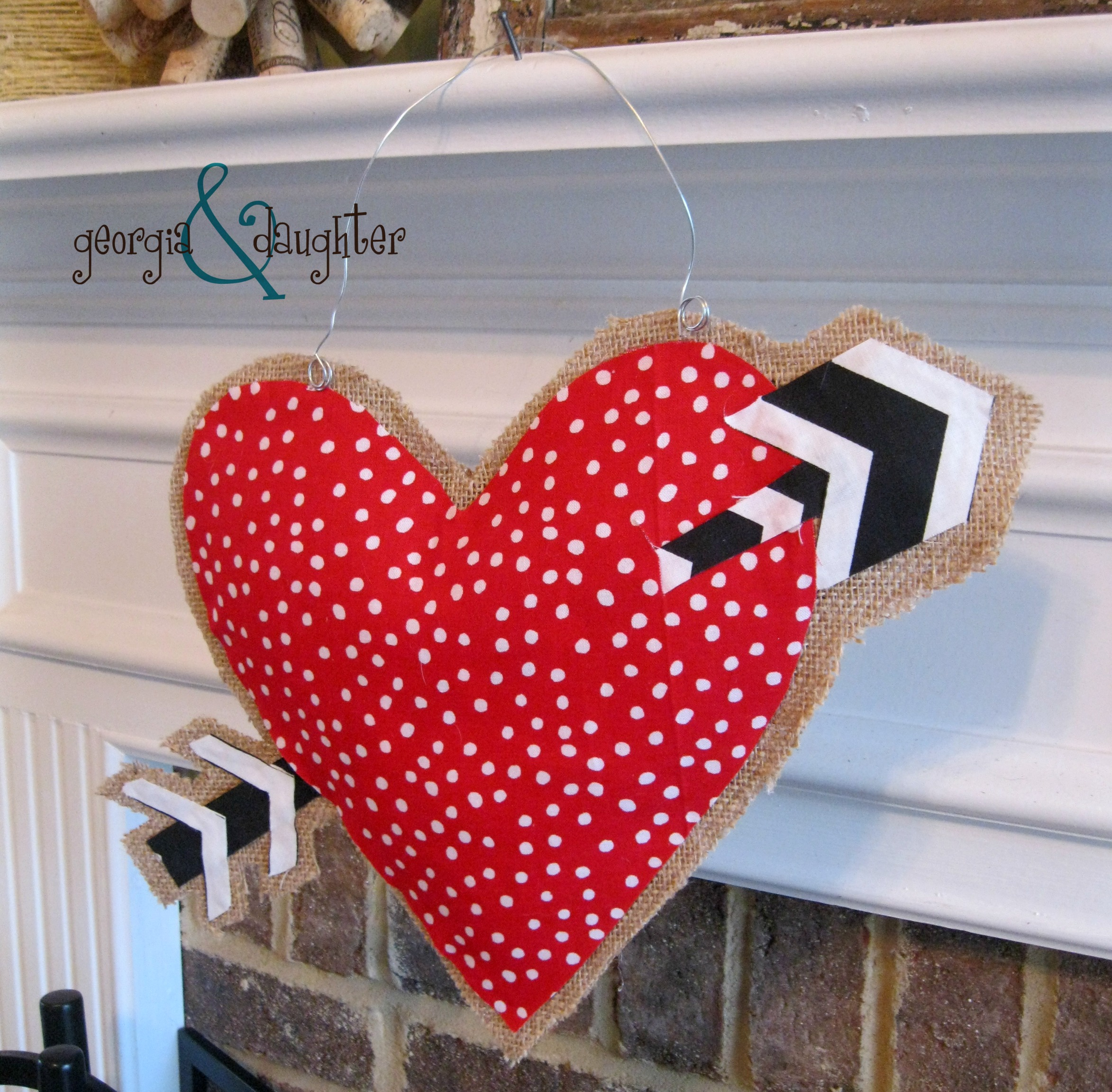 georgia daughter diy burlap heart door hanger