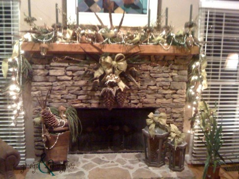 georgia & daughter: All natural, rustic Christmas mantel