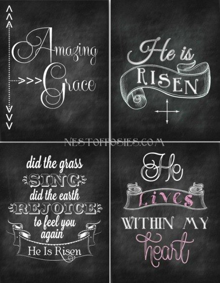 Nest of Posies Easter Chalkboard Printables